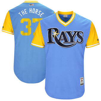 Men's Tampa Bay Rays Alex Colome The Horse Majestic Light Blue 2017 Players Weekend Authentic Jersey