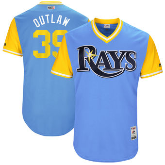 Men's Tampa Bay Rays Kevin Kiermaier Outlaw Majestic Light Blue 2017 Players Weekend Authentic Jersey