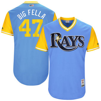 Men's Tampa Bay Rays Chase Whitley Big Fella Majestic Light Blue 2017 Players Weekend Authentic Jersey