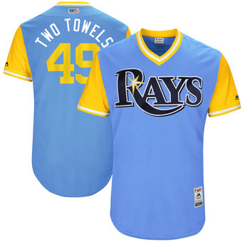 Men's Tampa Bay Rays Tommy Hunter Two Towels Majestic Light Blue 2017 Players Weekend Authentic Jersey