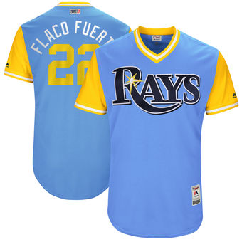 Men's Tampa Bay Rays Chris Archer Flaco Fuerte Majestic Light Blue 2017 Players Weekend Authentic Jersey