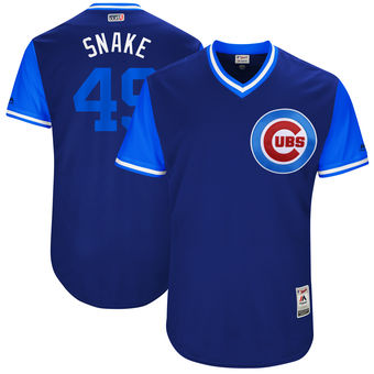Men's Chicago Cubs Jake Arrieta Snake Majestic Royal 2017 Players Weekend Authentic Jersey
