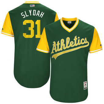 Men's Oakland Athletics Liam Hendriks Slydah Majestic Green 2017 Players Weekend Authentic Jersey