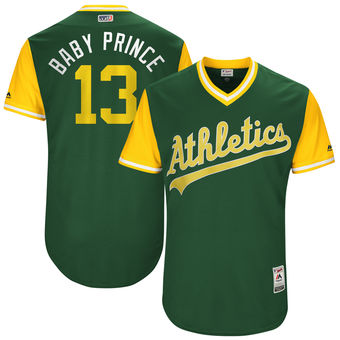 Men's Oakland Athletics Bruce Maxwell Baby Prince Majestic Green 2017 Players Weekend Authentic Jersey