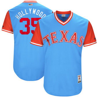 Men's Texas Rangers Cole Hamels Hollywood Majestic Light Blue 2017 Players Weekend Authentic Jersey