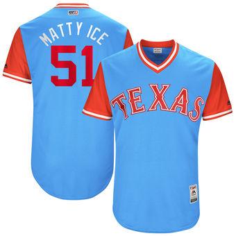 Men's Texas Rangers Matt Bush Matty Ice Majestic Light Blue 2017 Players Weekend Authentic Jersey