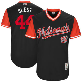 Men's Washington Nationals Ryan Madson Blest Majestic Navy 2017 Players Weekend Authentic Jersey