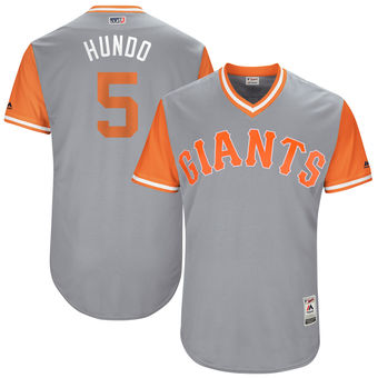 Men's San Francisco Giants Nick Hundley Hundo Majestic Gray 2017 Players Weekend Authentic Jersey