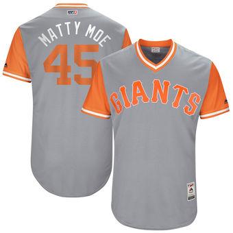 Men's San Francisco Giants Matt Moore Matty Moe Majestic Gray 2017 Players Weekend Authentic Jersey