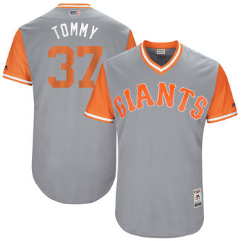 Men's San Francisco Giants Kelby Tomlinson Tommy Majestic Gray 2017 Players Weekend Authentic Jersey