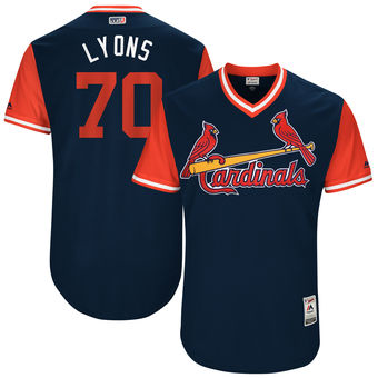 Men's St. Louis Cardinals Tyler Lyons Lyons Majestic Navy 2017 Players Weekend Authentic Jersey