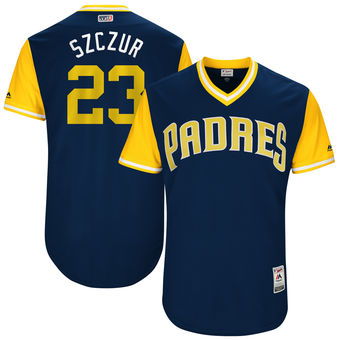 Men's San Diego Padres Matt Szczur Szczur Majestic Navy 2017 Players Weekend Authentic Jersey