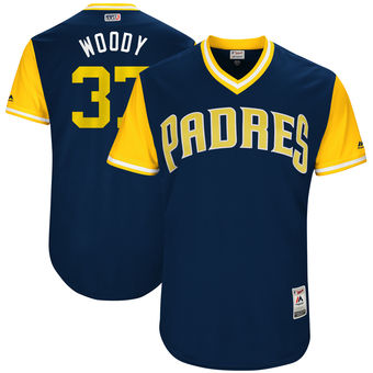 Men's San Diego Padres Travis Wood Woody Majestic Navy 2017 Players Weekend Authentic Jersey