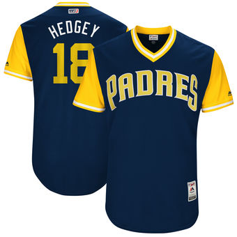 Men's San Diego Padres Austin Hedges Hedgey Majestic Navy 2017 Players Weekend Authentic Jersey