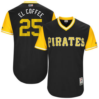 Men's Pittsburgh Pirates Gregory Polanco El Coffee Majestic Black 2017 Players Weekend Authentic Jersey