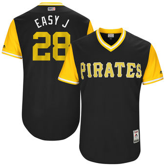 Men's Pittsburgh Pirates John Jaso Easy J Majestic Black 2017 Players Weekend Authentic Jersey