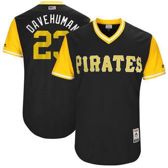 Men's Pittsburgh Pirates David Freese Davehuman Majestic Black 2017 Players Weekend Authentic Jersey