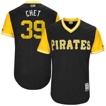 Men's Pittsburgh Pirates Chad Kuhl Chet Majestic Black 2017 Players Weekend Authentic Jersey