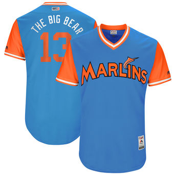 Men's Miami Marlins Marcell Ozuna The Big Bear Majestic Blue 2017 Players Weekend Authentic Jersey