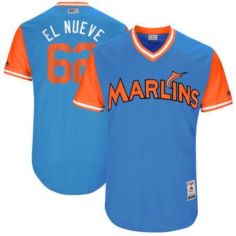 Men's Miami Marlins Jose Urena El Nueve Majestic Blue 2017 Players Weekend Authentic Jersey
