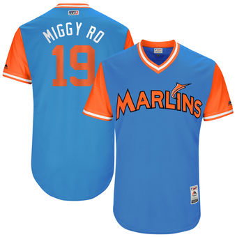 Men's Miami Marlins Miguel Rojas Miggy-Ro Majestic Blue 2017 Players Weekend Authentic Jersey
