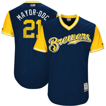 Men's Milwaukee Brewers Travis Shaw Mayor-DDC Majestic Navy 2017 Players Weekend Authentic Jersey