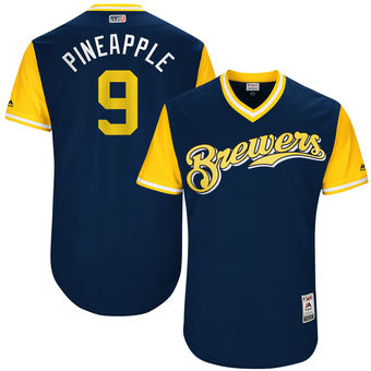 Men's Milwaukee Brewers Manny Pina Pineapple Majestic Navy 2017 Players Weekend Authentic Jersey