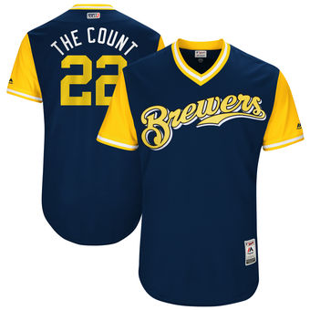 Men's Milwaukee Brewers Matt Garza The Count Majestic Navy 2017 Players Weekend Authentic Jersey