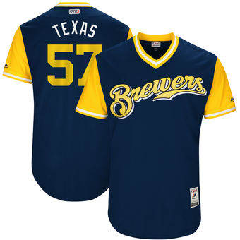 Men's Milwaukee Brewers Chase Anderson Texas Majestic Navy 2017 Players Weekend Authentic Jersey