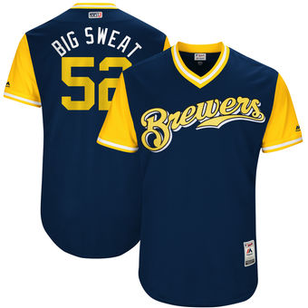 Men's Milwaukee Brewers Jimmy Nelson Big Sweat Majestic Navy 2017 Players Weekend Authentic Jersey