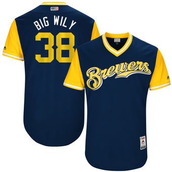 Men's Milwaukee Brewers Wily Peralta Big Wily Majestic Navy 2017 Players Weekend Authentic Jersey