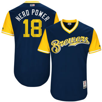 Men's Milwaukee Brewers Eric Sogard Nerd Power Majestic Navy 2017 Players Weekend Authentic Jersey