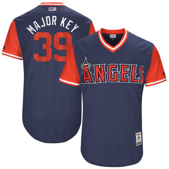 Men's Los Angeles Angels Keynan Middleton Major Key Majestic Navy 2017 Players Weekend Authentic Jersey