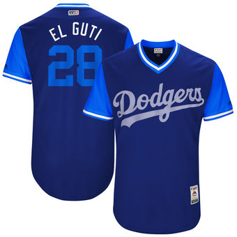 Men's Los Angeles Dodgers Franklin Gutierrez El Guti Majestic Royal 2017 Players Weekend Authentic Jersey