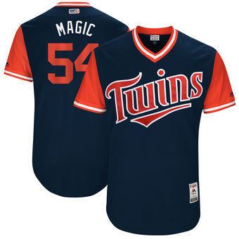 Men's Minnesota Twins Ervin Santana Magic Majestic Navy 2017 Players Weekend Authentic Jersey