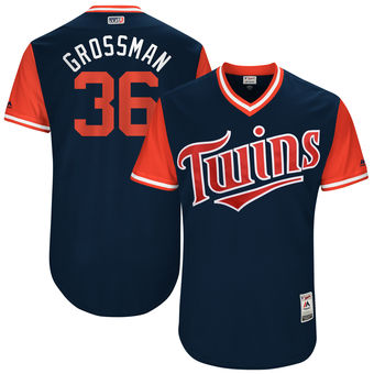 Men's Minnesota Twins Robbie Grossman Grossman Majestic Navy 2017 Players Weekend Authentic Jersey