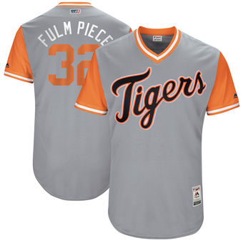 Men's Detroit Tigers Michael Fulmer Fulm Piece Majestic Gray 2017 Players Weekend Authentic Jersey
