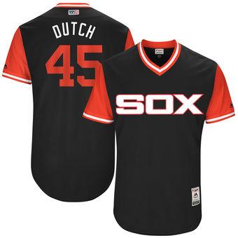 Men's Chicago White Sox Derek Holland Dutch Majestic Black 2017 Players Weekend Authentic Jersey