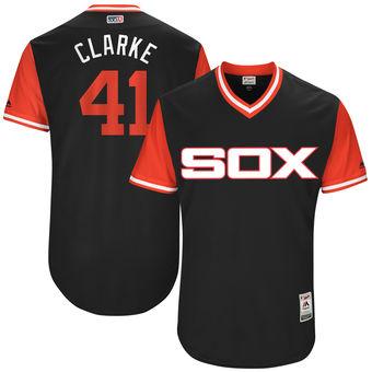 Men's Chicago White Sox Adam Engel Clarke Majestic Black 2017 Players Weekend Authentic Jersey