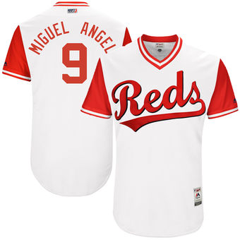 Men's Cincinnati Reds Jose Peraza Miguel Angel Majestic White 2017 Players Weekend Authentic Jersey