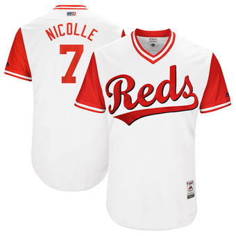 Men's Cincinnati Reds Eugenio Suarez Nicolle Majestic White 2017 Players Weekend Authentic Jersey