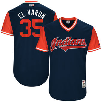 Men's Cleveland Indians Abraham Almonte El Varon Majestic Navy 2017 Players Weekend Authentic Jersey