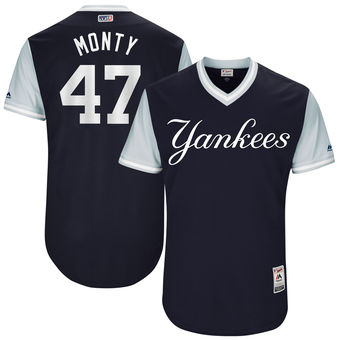 Men's New York Yankees Jordan Montgomery Monty Majestic Navy 2017 Players Weekend Authentic Jersey