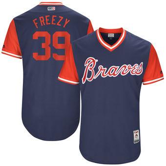 Men's Atlanta Braves Sam Freeman Freezy Majestic Navy 2017 Players Weekend Authentic Jersey