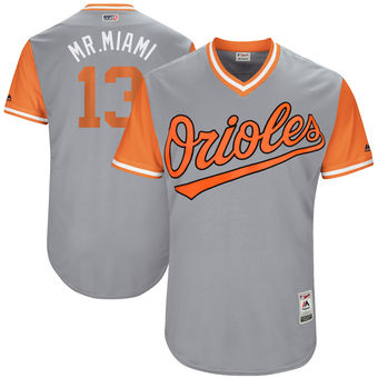Men's Baltimore Orioles Manny Machado Mr. Miami Majestic Gray 2017 Players Weekend Authentic Jersey
