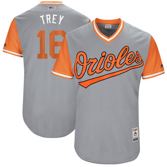 Men's Baltimore Orioles Trey Mancini Trey Majestic Gray 2017 Players Weekend Authentic Jersey