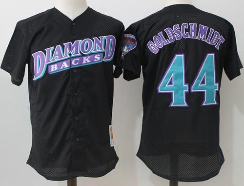 Mitchell And Ness Diamondbacks #44 Paul Goldschmidt Black Throwback Stitched MLB Jersey