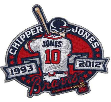 2012 Atlanta Braves 10 Chipper Jones Retirement Patch
