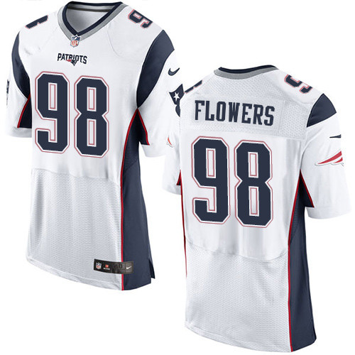 Nike New England Patriots #98 Trey Flowers White Men's Stitched NFL Elite Jersey