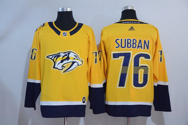 Men's Nashville Predators #76 P. K. Subban Yellow 2017-2018 adidas Hockey Stitched NHL Jersey